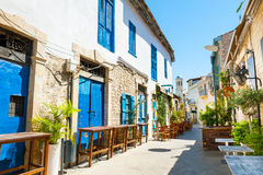 Beautiful old street in Limassol, Cyprus. Travel and vacation stock photography