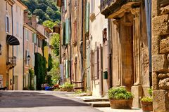 Old street in the village of Saignon, Provence, France Royalty Free Stock Images