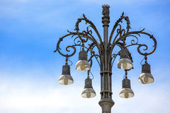 Beautiful old streetlamp with blue sky background. Place for tex Royalty Free Stock Image