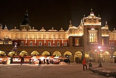 Beautiful old Sukiennice on the main square at night in Krakow Stock Images