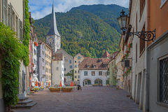 Beautiful old town chur, market place with view to st martins ch royalty free stock photography