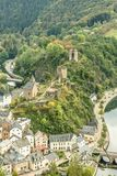 Scenic view of Esch sur sure town in Luxembourg in summer. Beautiful old town of Esch sur Sure hidden in the Ardennes forest on the Sure river bank meandering Stock Images