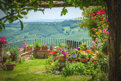 Beautiful old town with garden in central Italy. Royalty Free Stock Image