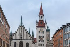 The beautiful Old Town Hall at Marienplatz Square, Munich - Germany stock image