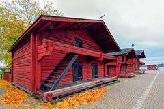 Beautiful Old town with historic wooden houses in Loviisa, Finla Royalty Free Stock Images