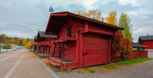 Beautiful Old town with historic wooden houses in Loviisa, Finla Royalty Free Stock Photo