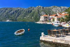 Beautiful old town of Perast, the promenade. Montenegro Royalty Free Stock Photos