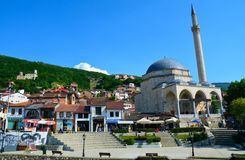 Prizren Old town Kosovo. The beautiful Old town of Prizren in Kosovo in the Balkans with its amazing mosque citadel and churches stock image