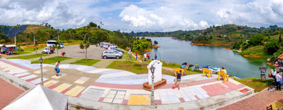 Beautiful Old town replica, Guatape, Colombia. GUATAPE, COLOMBIA - FEBRUARY 7, 2015: Beautiful panorama view of Penol old town replica of the main street in old Stock Images