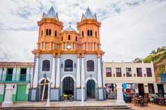 Beautiful Old town replica, Guatape, Colombia. GUATAPE, COLOMBIA - FEBRUARY 7, 2015: Beautiful Penol old town replica of the main street in old Guatape before it Royalty Free Stock Images