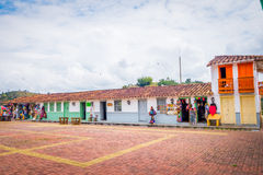 Beautiful Old town replica, Guatape, Colombia. GUATAPE, COLOMBIA - FEBRUARY 7, 2015: Beautiful Penol old town replica of the main street in old Guatape before it Stock Photography
