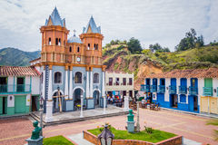 Beautiful Old town replica, Guatape, Colombia. GUATAPE, COLOMBIA - FEBRUARY 7, 2015: Beautiful Penol old town replica of the main street in old Guatape before it Royalty Free Stock Photos
