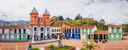 Beautiful Old town replica, Guatape, Colombia. Beautiful Penol old town replica of the main street in old Guatape before it was inundated, Colombia. Panorama royalty free stock image