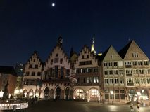Beautiful old town square in Frankfurt at night stock images