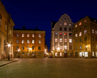 Beautiful Old Town square at night. Royalty Free Stock Images