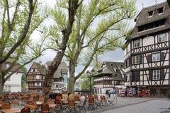 Beautiful old town of Strasbourg with people walking aro Stock Photo