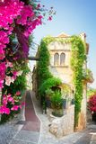 Beautiful old town of Provence. Beautiful old town street of Provence with summer blooming flowers, France Royalty Free Stock Image