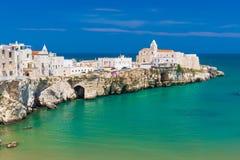 Beautiful old town of Vieste, Gargano peninsula, Apulia region, South of Italy stock image