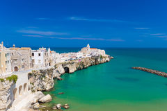 Beautiful old town of Vieste, Gargano peninsula, Apulia region, South of Italy. Beautiful old town of Vieste, amazing sea colors, Gargano peninsula, Apulia stock photo