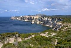 Beautiful old village of Bonifacio (Corsica island, France), sus Royalty Free Stock Photo