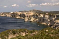 Beautiful old village of Bonifacio (Corsica island, France), sus Royalty Free Stock Photos
