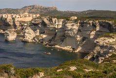 Beautiful old village of Bonifacio (Corsica island, France), sus Royalty Free Stock Images