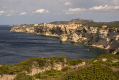 Beautiful old village of Bonifacio (Corsica island, France), sus Royalty Free Stock Images
