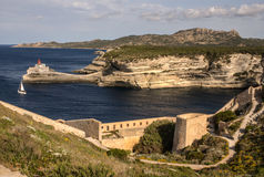 Beautiful old village of Bonifacio (Corsica island, France), sus Royalty Free Stock Photography