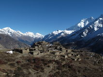 Beautiful old village on a hilltop near Manang Stock Photos