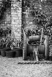 Beautiful old vintage potting shed exterior detail in English co Royalty Free Stock Photography