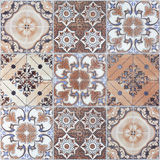 Beautiful old wall ceramic tiles patterns handcraft from thailan. D public Stock Images