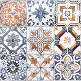 Beautiful old wall ceramic tiles patterns handcraft from thailan. The Beautiful old wall ceramic tiles patterns handcraft from thailand public Royalty Free Stock Photography