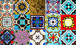 Beautiful old wall ceramic tiles patterns handcraft from thailand public. Stock Photography