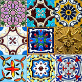 Beautiful old wall ceramic tiles patterns handcraft from thailand public. Royalty Free Stock Images