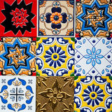 Beautiful old wall ceramic tiles patterns handcraft from thailand public. Stock Image