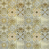 Beautiful old wall ceramic tiles patterns handcraft. From thailand public Royalty Free Stock Photo