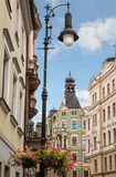 Beautiful old wall lamp on a historic street near the Prague Castle Royalty Free Stock Image