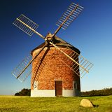 Beautiful old windmill and landscape with the sun. Chvalkovice - Czech Republic. Europe. Royalty Free Stock Photography