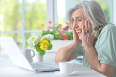 Beautiful old woman with a laptop Royalty Free Stock Photos