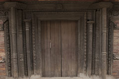 Beautiful old Wooden Door in KATHMANDU, NEPAL Stock Image