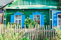 Beautiful old wooden house. Rustic retro house royalty free stock photography