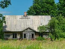 old wooden house stands stock images