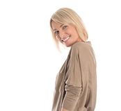 Beautiful older blond attractive isolated woman smiling with whi Stock Photography