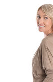 Beautiful older blond attractive isolated woman smiling with whi Royalty Free Stock Image