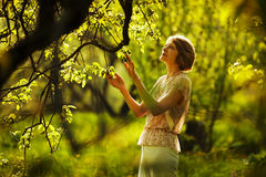 Beautiful older woman in the garden Stock Photography