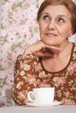 A beautiful older woman sitting at a table Stock Images