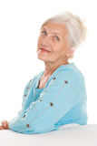 Beautiful older woman on a white Stock Images