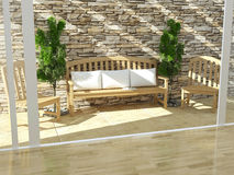Beautiful open terrace. Beautiful open terrace with wooden furniture and stone wall. Exterior design Stock Photos