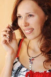 Beautiful operator is ready for help Royalty Free Stock Image