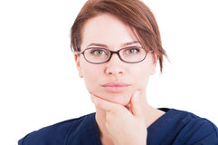 Beautiful optician woman or female Royalty Free Stock Images